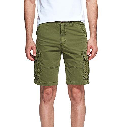 Xmiral Shorts Hose Herren Cargohose Taste Reißverschluss Overall mit Mehreren Taschen für Fitness Ball Jogger Strassenmode Badehose Strandhosen Sporthose(Armee Grün,L)