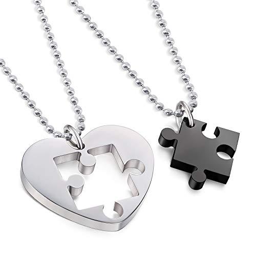 Par de collares, 2 piezas Love Heart Matching Puzzle de acero inoxidable colgante con cadena de 60 cm, dos mitades parejas, pareja, amigo/novia (plata y negro)