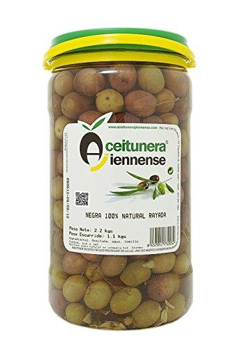 Aceituna Negra Rayada 100% Natural | Aceitunera Jiennense | 2,3 Kg (Peso neto )