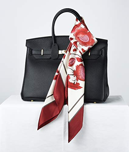 35″ Women Silk Feeling 90 cm Square Hair Neck Sleeping Scarf Cornell Red Alizarin Crimson Vintage Sunflower