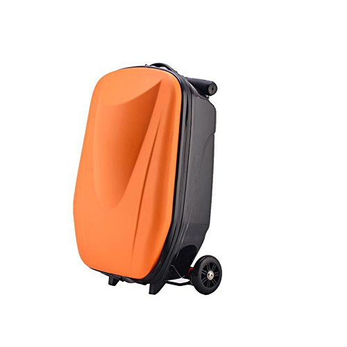 Luggage-foldable scooter suitcase with multi-functional suitcase fashion style travel(20 inch)(A:Orange)