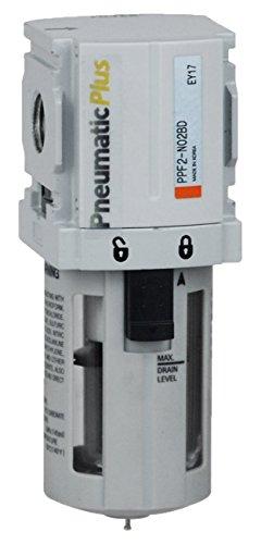 PneumaticPlus PPF2-N02B Miniature Compressed Air Particulate Filter 1/4' NPT - 5 Micron, Poly Bowl, Manual Drain, Bracket