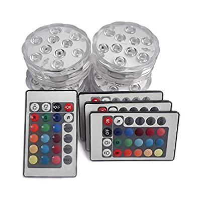 Creatrek Submersible Led Lights,Remote Controlled Waterproof Multi Color Underwater Lights for Pond and Party with 4Pack
