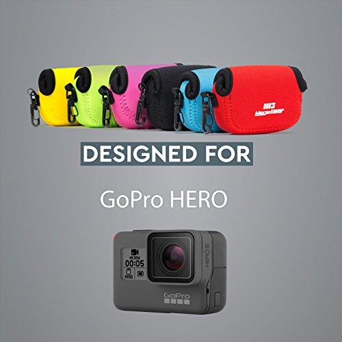 MegaGear MG047 Ultra Light Neoprene Case with Carabiner for GoPro Sj5000/GroPro/Hero 3+/SJ4000/HD/Hero 4/Hero 5 Black Camera - Hot Pink