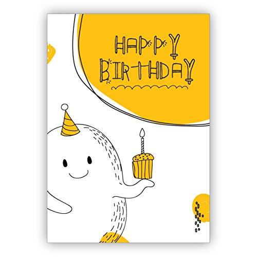 Schattige verjaardagskaart met klein monster en muffin, niet alleen voor kinderen: Happy Birthday, mooie wenskaart met envelop voor beste vrienden en lievelingsmensen.