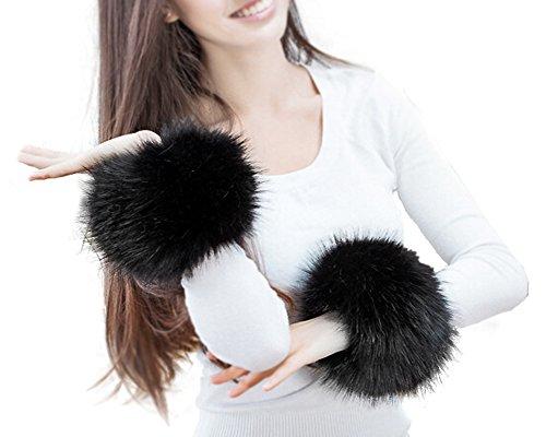 SwirlColor Fell Stulpen Pulswärmer Faux Pelz Armstulpen Faux Fur Wrist Band Ring Cuffs Wärmer für Frauen (Schwarz)