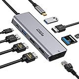 Hub USB C Dual HDMI, adaptador multipuerto 9 en 1 a doble HDMI, Gigabit Ethernet, PD 100 W, puerto USB 3.0 y reproducción de tarjetas SD/TF, Dock para MacBook Huawei MateBook Tablet tipo C