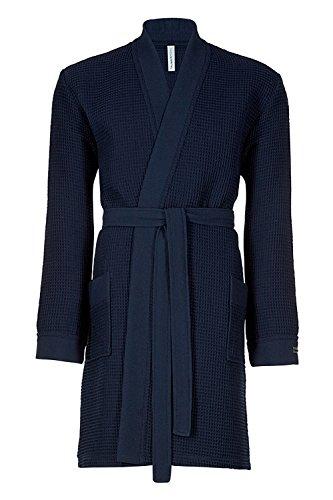 Taubert Spa Thalasso Short Kimono kurzer Bademantel 100 cm Pique M Navy