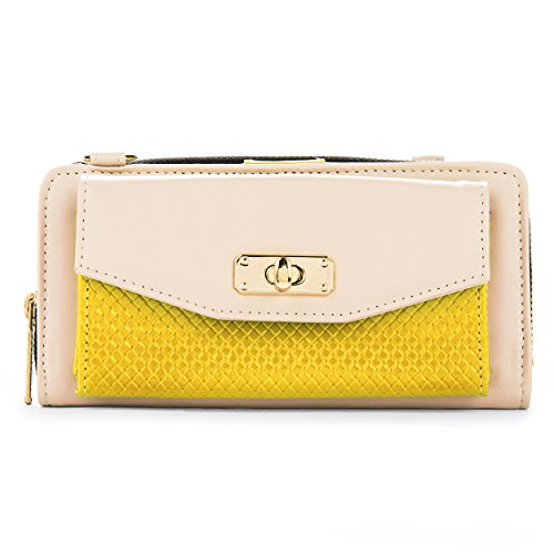 Cream and Yellow Womens Venice Wallet Case for ZTE ZMAX, Quartz, Compel, Warp
