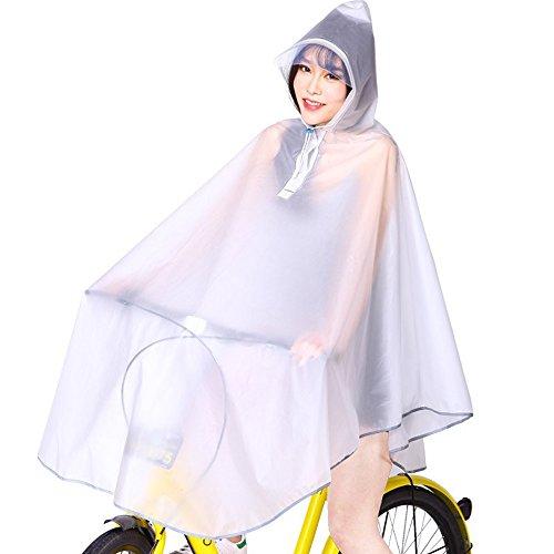 KINDOYO Femmes Réutilisable Vêtements de Pluie Imperméables De Plein Air Capuche Longue Cyclisme Poncho, Blanc