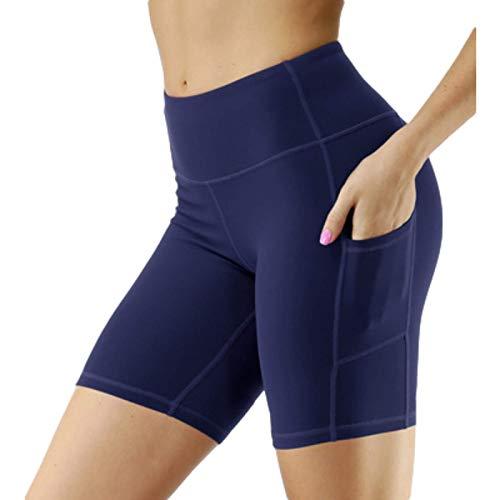 Corumly Pantalones Cortos para Mujer Deportes Casuales Correr Pantalones Cortos Ajustados con Bolsillo Lateral de Cintura Alta Pantalones Cortos elásticos de Yoga S