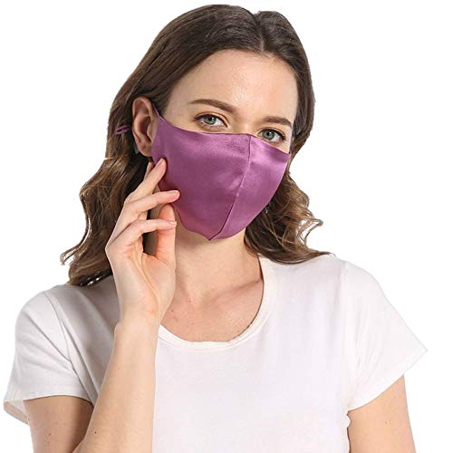 100% Mulberry Silk Purple Face Mask for Women Cooling Lightweight Masks Breathable-Dark Purple