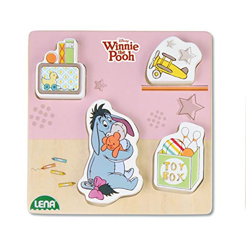Lena 32121 - Holzlegespiel mit Disney's Winnie The Puuh Figur Esel I-Aah, Puzzle für Kinder ab 18 Monaten aus 100% FSC Holz, mit 4 Teilen im Brett, ca. 14 cm, Puzzleteile separat bespielbar