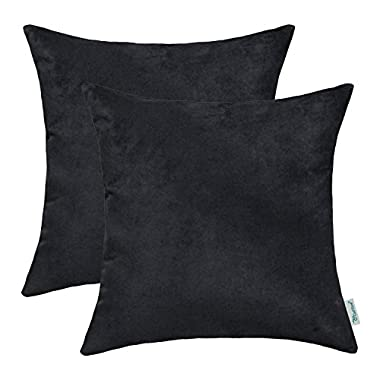 Pack of 2 CaliTime Cozy Throw Pillow Covers Cases for Couch Bed Sofa, Super Soft Faux Suede Solid Color Both Sides, 18 X 18 Inches, Black