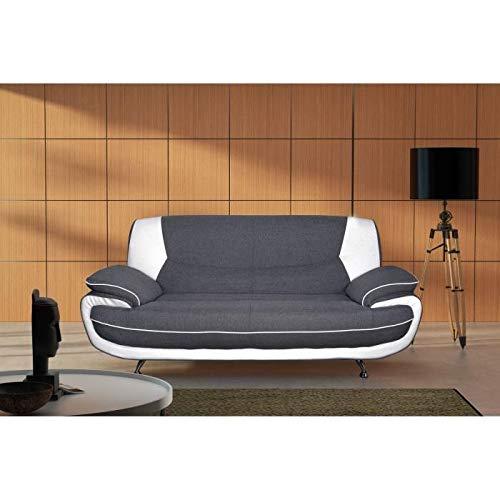 MCD SPACIO Canapé Droit 3 Places Tissu/PVC Gris/Blanc