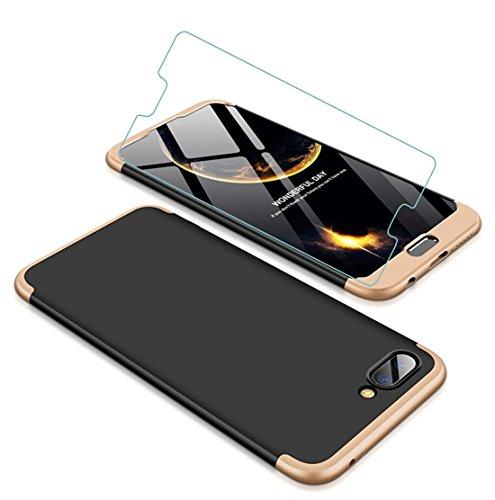 Funda Huawei Honor 10 360 Grados Oro Negro Ultra Delgado Todo Incluido Caja del teléfono de la Protección 3 en 1 Case+Protectora de Película de Vidrio Templado para JOYTAG-Oro Negro