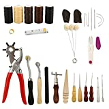 Artilife 32pcs Leather Tool Kit Including Leather Waxed Threads, Needles, Stitching Hole Punch, Groover Tool and Awl, DIY Leather Craft Accessories for Beginner Leather Repair