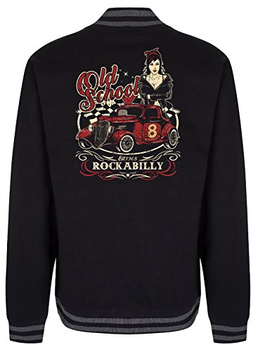 Gasoline Bandit Design - Rockabilly College Baseball-Jacke: Old School XXL