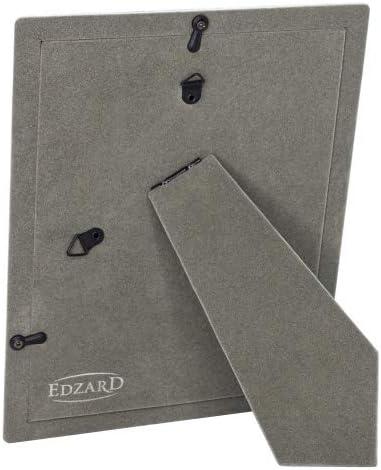 prot/ég/é contre le ternissement EDZARD Cadre photo Salerno pour photo de 10 x 15 cm avec 2 crochets de suspension plaqu/é argent dos en velours gris
