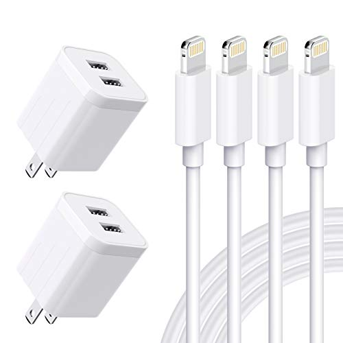 MBYY iPhone Charger MFi Certified Lightning Cable (4 Pack) 6FT Fast Charging Data Sync Transfer Cord with 2 Port USB Plug Wall Charger Travel Adapter Compatible with iPhone 11 Pro Max Xs X XR 8 7 Plus
