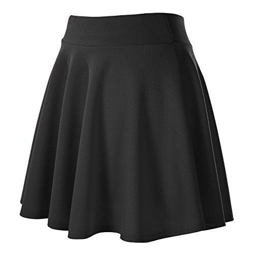 Urban CoCo Women's Basic Versatile Stretchy Flared Casual Mini Skater Skirt (Medium, Black)