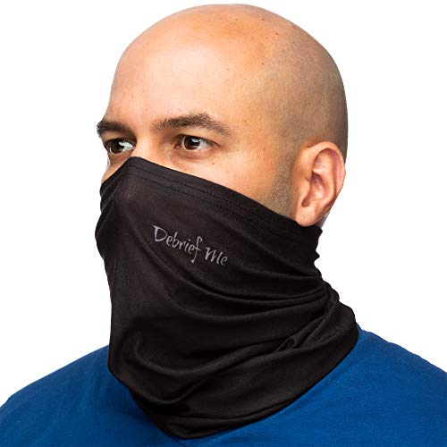Debrief Me Lightweight Breathable Neck Gaiter Mask for Face Protection from Sun Dust, Germ, and Allergic Rhinitis for Indoor and outdoor- Face shield Anti slip Gaiter Mask (Neck Gaiter-Black)
