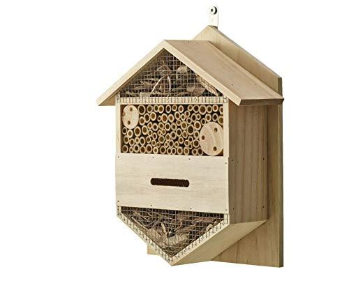 Eifa Insektenhotel Hexagon 4 Kammern Holz/Nistkasten Natur 29 x 33 cm verstärkt Insektenhaus aus Holz für Bienen, Schmetterlinge, Käfer & andere Tiere