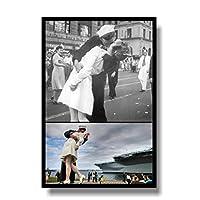 タイムズスクエアVJデーのキス写真キャンバス絵画壁アートポスターとリビングルームの家の装飾のための写真を印刷キャンバスに印刷50x70cmフレームなし