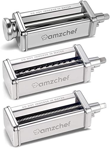 AMZCHEF Accessori per rulli e taglierine Set 3 in 1 per mixer KitchenAid, accessori per creatore di pasta in acciaio inossidabile, rullo per fogli di pasta incluso, tagliapasta, tagliapasta