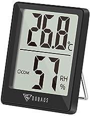 DOQAUS Digitale Thermo-Hygrometer, Binnen Thermometer, Hygrometer, Temperatuur en Luchtvochtigheidsmeter met Hoge Nauwkeurigheid, voor Interieur, Babykamer, Woonkamer, kantoor