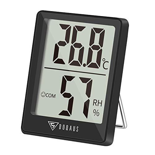 DOQAUS Thermometer Innen, Digitales Thermo Hygrometer Innen, Luftfeuchtigkeitsmessgerät, Hydrometer Feuchtigkeit mit Hohen Genauigkeit, für Raumklimakontrolle, Babyraum, Wohnzimmer, Büro(Schwarz)