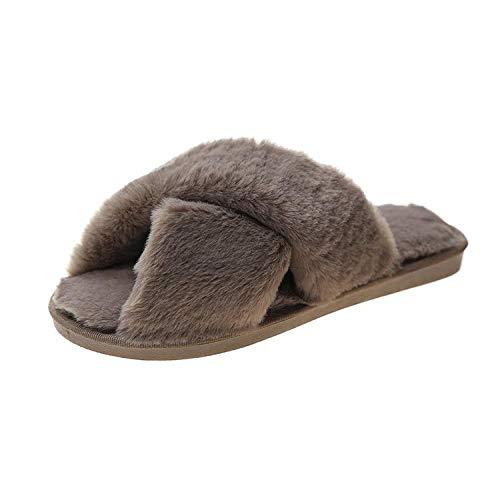 HUSHUI Slippers Calienta Y CóModo Ideal,Pantuflas Pantuflas, Gamuza Interior Ocio algodón-Khaki_38-39,Suave AlgodóN Zapatilla Pareja Zapatos