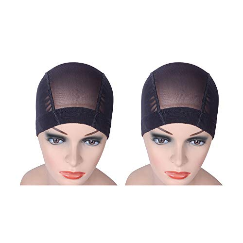 2 Pcs/Lot Black Mesh Cap Wig Cap for Making Wigs Stretchable Hairnets with Wide Elastic Band (Mesh Cap L)