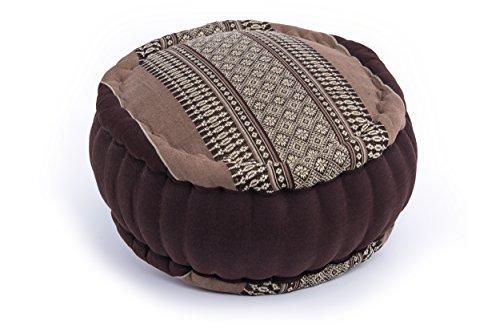 Handelsturm Zafu Meditationskissen mit Füllung aus Kapok 35 x 20 buntes Kissen für Sitzmeditation Lotussitz oder Zen Meditation (Thaimuster braun-beige)