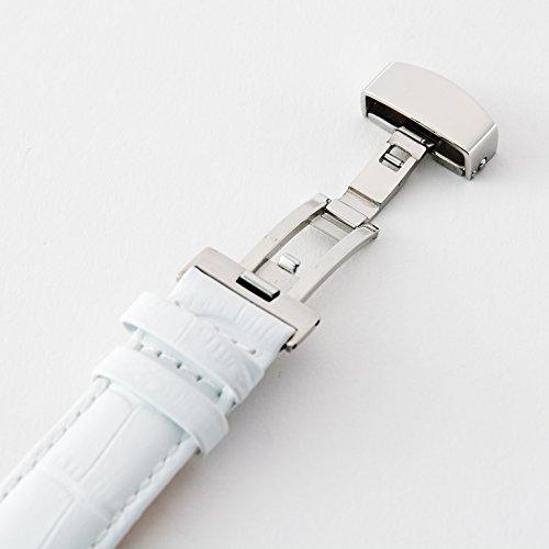 『【タッチ・ザ・スカイ】Touch The Sky 腕時計 ベルト 本革 クロコダイル型押し ベルト白×ステッチ同色/18mm』の3枚目の画像