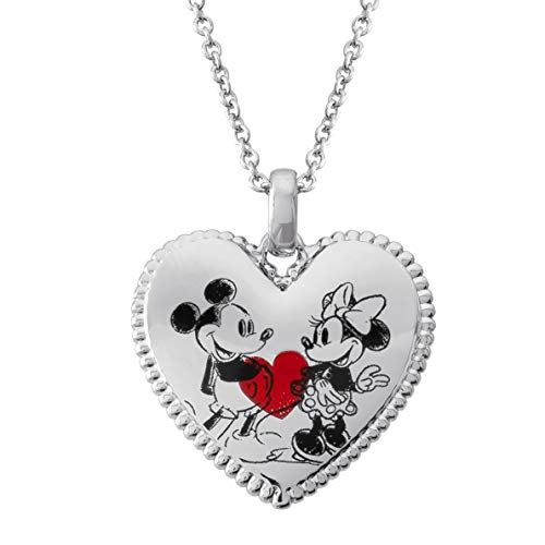 Disney Classic Mickey and Minnie Mouse Heart Pendant Necklace, Mickey's 90th Anniversary