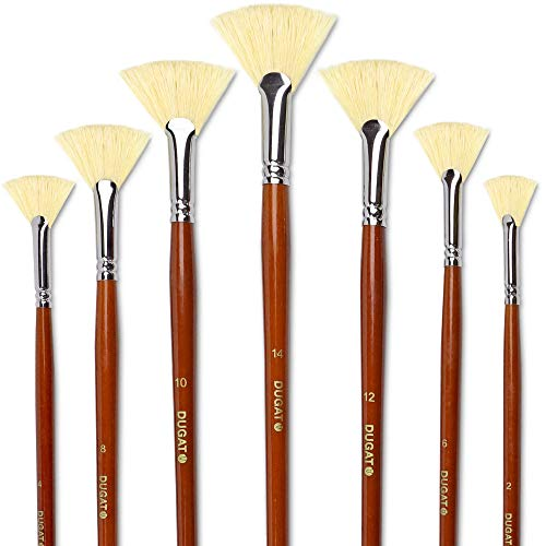 Artist Fan Paint Brush Set of 7, White Hog Bristle Natural Hair Anti-Shedding Brush Tips, Long Wooden Handle for Comfortable Holding, Great for Acrylic Watercolor Oil Painting