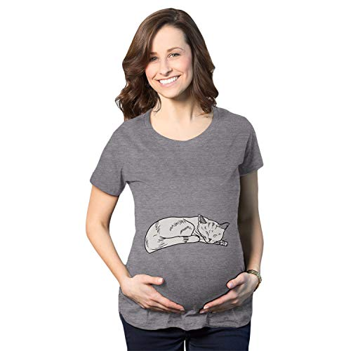 Crazy Dog Tshirts - Maternity Cat on Baby Bump Tshirt Funny Adorable Kitty Pregnancy Tee (Heather Grey) - L - Femme