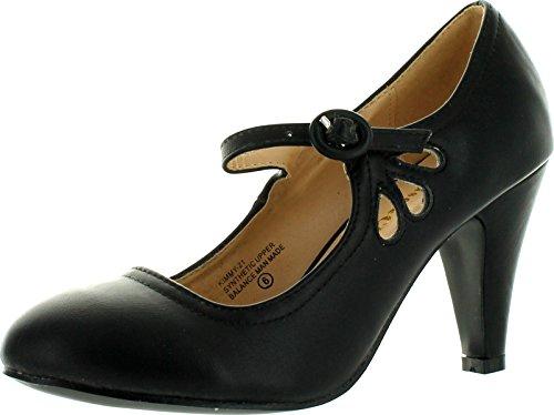 Chase & Chloe Kimmy-21 Women's Round Toe Pierced Mid Heel Mary Jane Style Dress Pumps (8 B(M) US, Black)