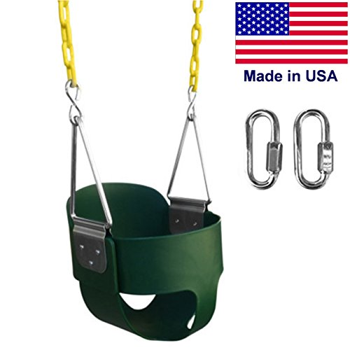 SAFARI SWINGS High Back Full Bucket Kids Swing Seat (USA MADE, Includes 67' of...