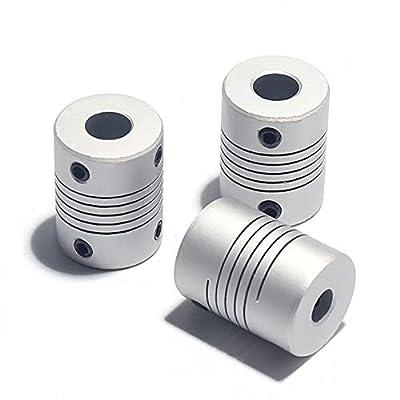 RATTMMOTOR Flexible Coupling 6.35mm to 8mm 3 PCS Shaft Coupler Nema 23 Stepper Motor Aluminum Alloy Joint Connector for RepRap 3D Printer CNC Machine