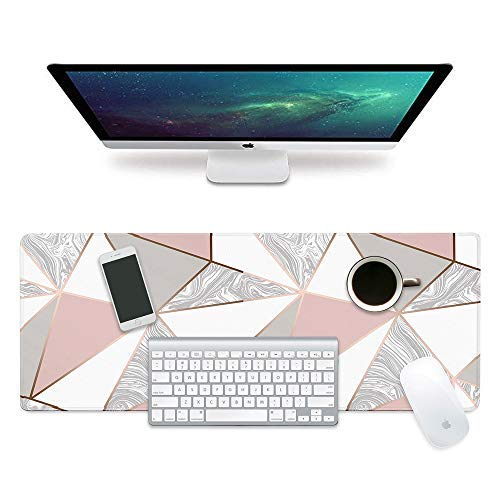 ZYCCW Large Gaming XXL Mouse Pad with Stitched Edge 31.5'x11.8'x0.15' Marble Mouse Mat Customized Extended Gaming Mouse Pad Anti-Slip Rubber Base Ergonomic Mouse Pad for Computer (Pink Marble)
