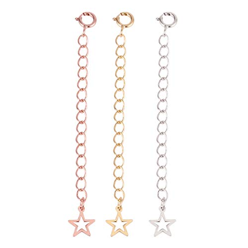 Tomaibaby Extensor de Collar Extensor de Pulsera 3 Piezas Extensor de Cadena de Encanto de Estrella de Plata Pura para Suministros de Fabricación de Joyas (Plata Dorada Oro Rosa 5. 5 Cm)