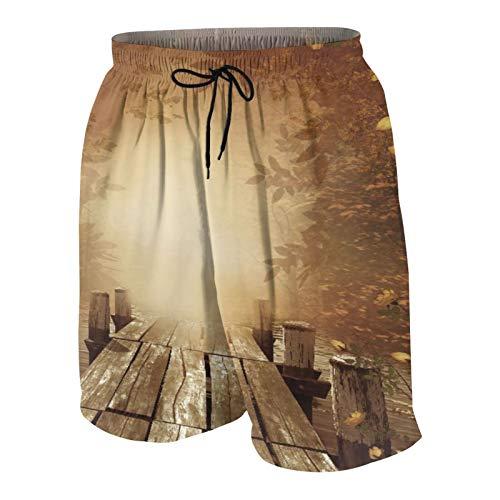 SUHOM De Los Hombres Casual Pantalones Cortos,Paisaje otoñal con un Muelle de Pesca de Madera,Secado Rápido Traje de Baño Playa Ropa de Deporte con Forro de Malla