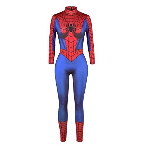 IYOWEL Women's Halloween Jumpsuits Skeleton Costume Bone Print Stretch Funny Cosplay Catsuit Bodysuit Rompers (M, BlueRed spider)