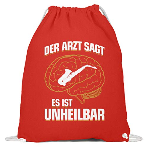 shirt-o-magic Saxophon: .es ist unheilbar - Baumwoll Gymsac -37cm-46cm-Hellrot