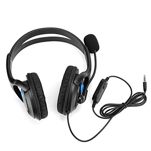 Call Headphone, ABS Lightweight Computer Mobile Phone Gaming Headset with Moving Coil 3.5mm, High Sound Quality, Adjustable Headband for PS4(blue)