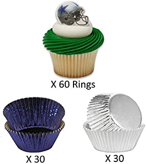 DALLAS COWBOYS Football Helmet Cupcake Toppers and Liners - Cowboys Helmets with Coordinating Silver and Blue Foil Baking Cups - Enough for 60 Cupcakes
