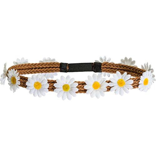 Amakando 70er Jahre Blumenkranz Margeriten Haarschmuck Flower Power Stirnband Hippie Haarband Karnevalskostüme Accessoires Blumen Haar Schmuck Gänseblümchen Kopfschmuck