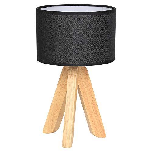 Lámpara de mesa Modern night light Pantalla de lino negro base de madera para mesita de noche de...